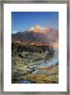 Framed Print featuring the photograph Sunrise At Hot Creek. by Johnny Adolphson