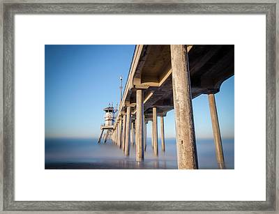 Sunrise At Huntington Beach Pier Framed Print by Sean Foster