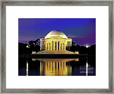 Sunrise At Jefferson Memorial Framed Print