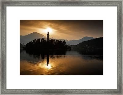 Sunrise At Lake Bled Framed Print