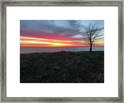 Sunrise At Lake Sakakawea Framed Print