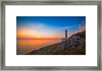 Sunrise At Lighthouse Of Palascia Framed Print by Angelo Perrone