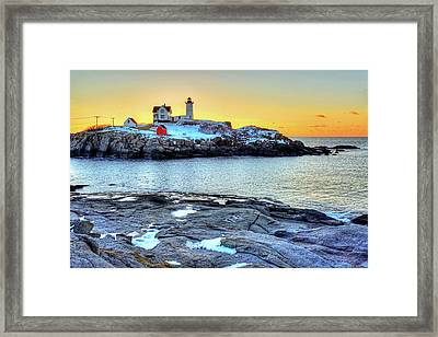Sunrise At Nubble Light York Me Cape Neddick Framed Print by Toby McGuire