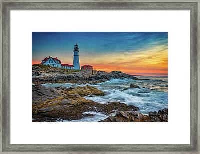 Sunrise At Portland Head Light Framed Print by Rick Berk