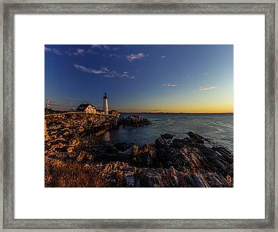 Sunrise At Portland Headlight Framed Print