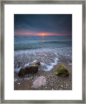 Sunrise At Sandpoint Beach Framed Print