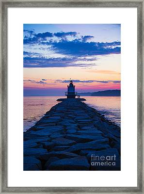 Sunrise At Spring Point Light Maine Framed Print by Diane Diederich