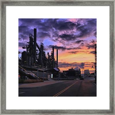 Framed Print featuring the photograph Sunrise At Steelstacks by DJ Florek