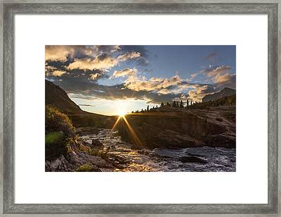 Sunrise // Swiftcurrent, Glacier National Park Framed Print
