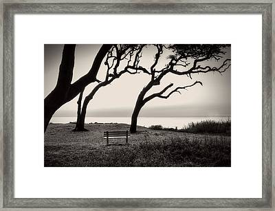 Sunrise At The Bench In Black And White Framed Print