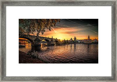Sunrise At The Charles Bridge Framed Print