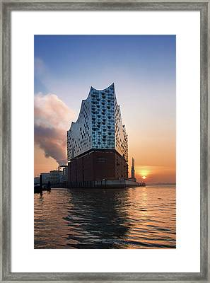 Framed Print featuring the photograph Sunrise At The Elbe Philharmonic Hall by Marc Huebner