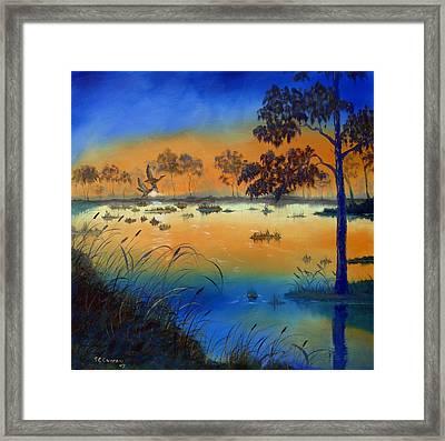 Sunrise At The Lake Framed Print by SueEllen Cowan