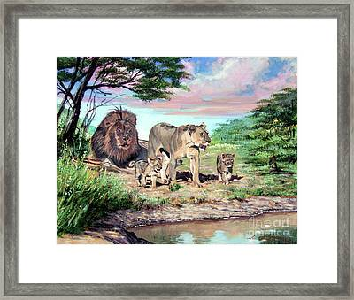 Sunrise At The Oasis Framed Print by David Lloyd Glover