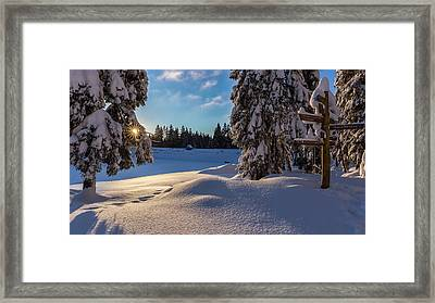 sunrise at the Oderteich, Harz Framed Print