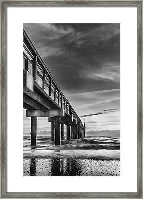 Sunrise At The Pier-bw Framed Print by Marvin Spates