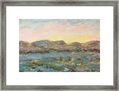 Framed Print featuring the painting Sunrise At The Pond by Norma Duch