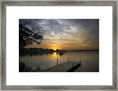 Sunrise At The Reservoir Framed Print by Ng Hock How
