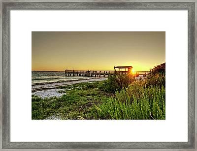 Sunrise At The Sanibel Island Pier Framed Print