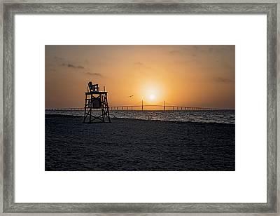 Sunrise At The Skyway Bridge Framed Print by Michael White