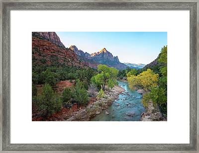 Sunrise At The Watchman - Zion National Park - Utah Framed Print by Brian Harig