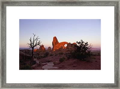 Sunrise At Tower Arch Framed Print