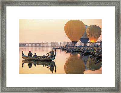 Sunrise At U Bein Bridge  Framed Print by Anek Suwannaphoom