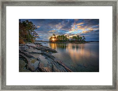 Sunrise At Wolfe's Neck Woods Framed Print by Rick Berk