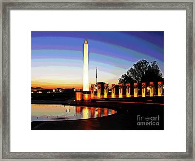 Sunrise At Wwii Memorial Framed Print