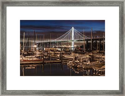 Sunrise Bay Bridge And Boats Framed Print by John McGraw