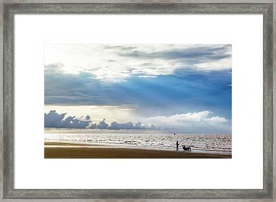 Sunrise Beach Fishing Framed Print