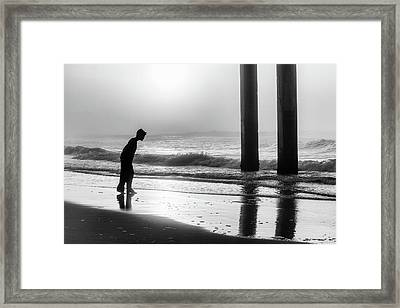 Framed Print featuring the photograph Sunrise Boy In Foggy Beach by John McGraw