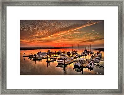 Sunrise Bull River Marina Tybee Island Savannah Art Framed Print