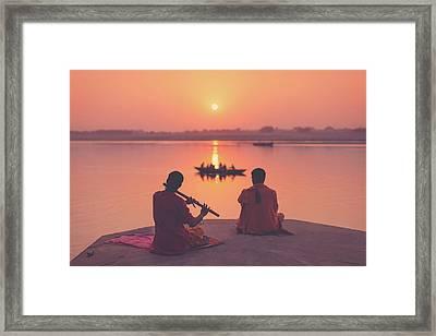 Sunrise By The Ganges Framed Print by Marji Lang