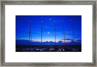 Sunrise Catamarans Moon Planets Framed Print