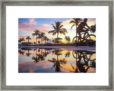 Sunrise Cyclist Delray Beach Florida Framed Print