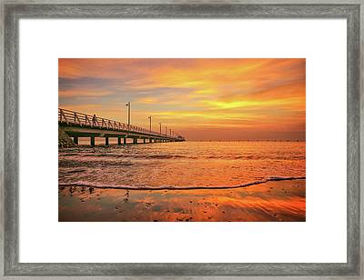 Sunrise Delight On The Beach At Shorncliffe Framed Print