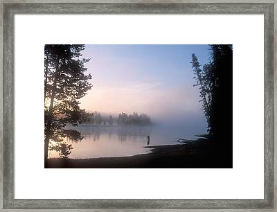Sunrise Fishing In The Yellowstone River Framed Print by Michael S. Lewis