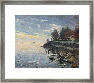 Sunrise Fishing Framed Print by Ylli Haruni