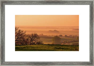 Framed Print featuring the photograph Sunrise Foggy Valley by Jenny Rainbow