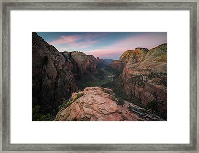 Sunrise From Angels Landing Framed Print by James Udall