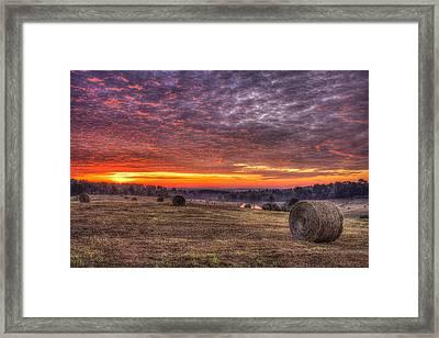 Sunrise Hayfield Walker Church Road Valley Framed Print