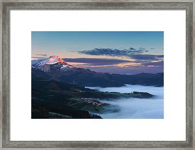 sunrise in Aramaio valley with Anboto mountain Framed Print by Mikel Martinez de Osaba