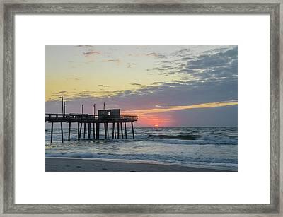 Sunrise In Avalon New Jersey - 32nd Street Pier Framed Print by Bill Cannon