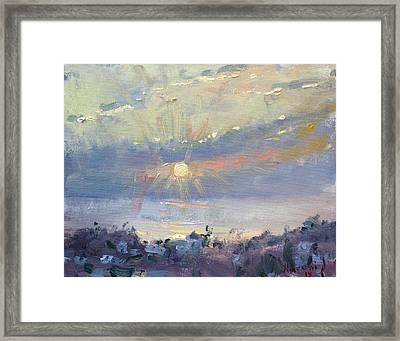 Sunrise In Egey Sea Greece Framed Print by Ylli Haruni