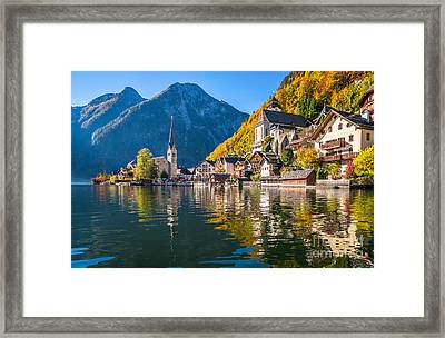 Sunrise In Hallstatt Mountain Village With Colorful Autumn Landscape Framed Print