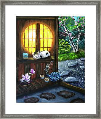 Sunrise In Moon Window Framed Print by Laura Iverson