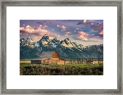 Sunrise In North Moulton Barn Framed Print