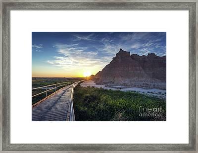 Sunrise In The Badlands Framed Print by Joan McCool