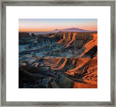 Framed Print featuring the photograph Sunrise In The Badlands. by Johnny Adolphson